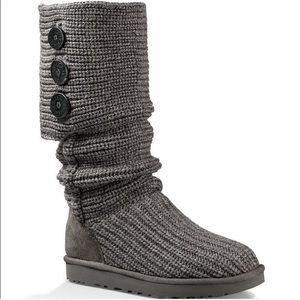 Ugg gray knit tall boots size 10